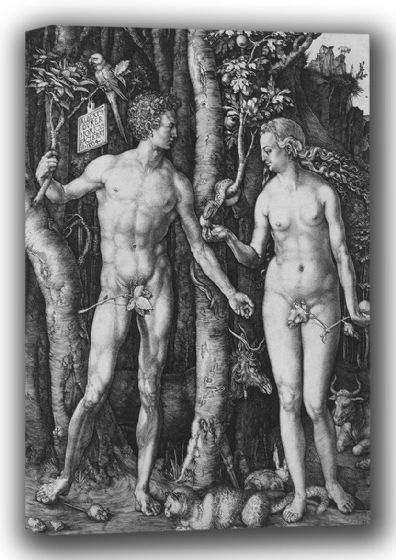 Durer, Albrecht: Adam and Eve. Fine Art Canvas. Sizes: A4/A3/A2/A1 (001919)